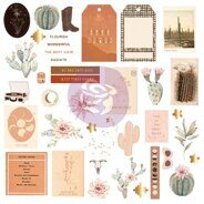 Высечки  Shapes, Tags, Words Ephemera with Foil Accents коллекция Golden Desert от Prima Marketing