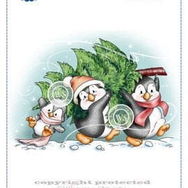 Штамп Penguins Carry the Tree от Whimsy Stamps