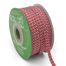 Лента Twill Chevron Stripe Ribbon with Woven Edge RED от May Arts