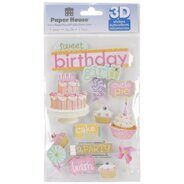 Набор 3D наклеек Sweet Birthday Girl от Paper House Productions