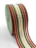 Лента Woven Christmas Stripes Organza Ribbon от May Arts