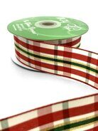 Лента  Christmas Gingham Woven Ribbon от May Arts